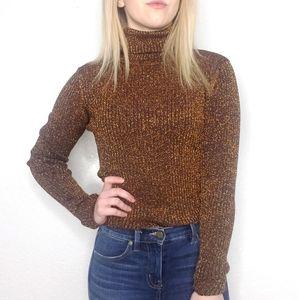 Vintage 90s Copper Metallic Turtleneck Sweater M
